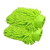 Happyit 2 PCS Autowäsche Handschuh Microfaser Chenille Wäsche Mitt Reinigung Wäsche Mitt Microfaser Schwamm Stoff Car Waschmaschine (Grün)