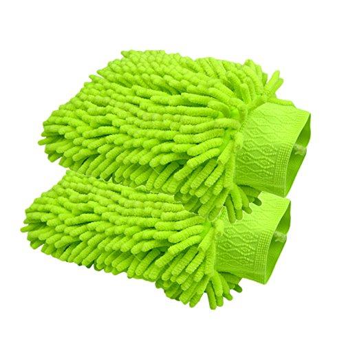 Happyit 2 PCS guante de lavado de coches microfibra Chenille Wash Mitt limpieza Lavado Mitt...