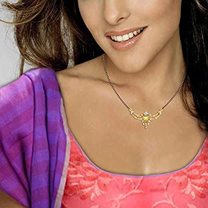Candere By Kalyan Jewellers Chetana 14k Yellow Gold and Diamond Mangalsutra Necklace for Women