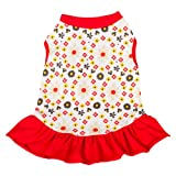 Blueberry Pet Red & Sunshine Yellow Floral Cotton Dog Dress, Back Length 14