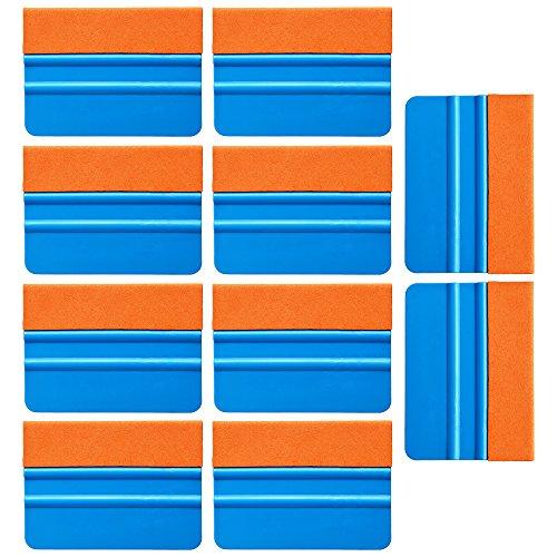 Ehdis 10PCS Qualität Filzkante Andrückrakel 4 Zoll für Auto-Vinyl Scraper Aufkleber Applikator Werkzeug mit orange Suede Filzkante - Blau PP Scraper (Blau-raspel)