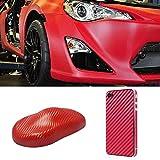 3D-Autofolie Aus Kohlefaser, Auto-Innen- Und Außenaufkleber, Antifouling Und Anti-UV-Auto, Motorrad, Laptop, Handyschutz (Rot,1.52m*50cm)