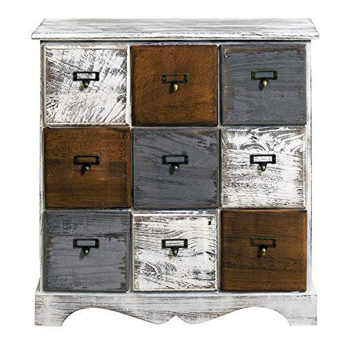 Rebecca Mobili Schubladenkommode 9 Schubladen, Sideboard Weiß, Holz, Shabby Chic, Schlafzimmer Wohnzimmer - Maße: 62 x 60 x 22 cm (HxLxB) - Art. RE4077 -