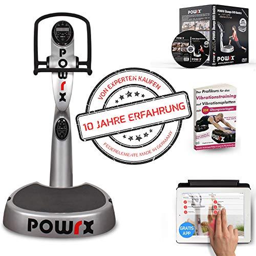 POWRX Vibrationsplatte mit Säule Active Evolution 2.7 inkl. Zubehörpaket I Effektives Vibrationstraining für zu Hause I in 4 Farben (Silber)