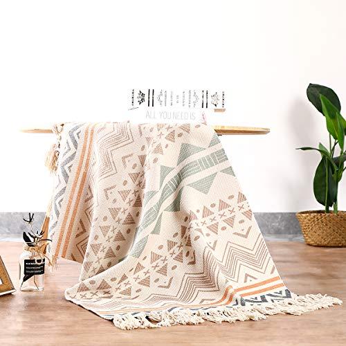 Cologo Läufer Teppich Baumwolle Waschbar Handwebteppich 60x130cm Vintage Marokkanisches Muster Antirutschmatte Teppichunterlage für Wohnzimmer, Schlafzimmmer, Esszimmer