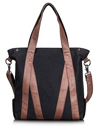 Leaper lässig Canvas Schultertasche Handtasche Umhängetasche für Damen Shopper (Schwarz)