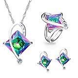 Uloveido Mystic Rainbow Hochzeit & Brautschmuck Sets - Damen Kristall Zirkonia Halskette Sets mit großem Stein (Multi, Größe 52) T295