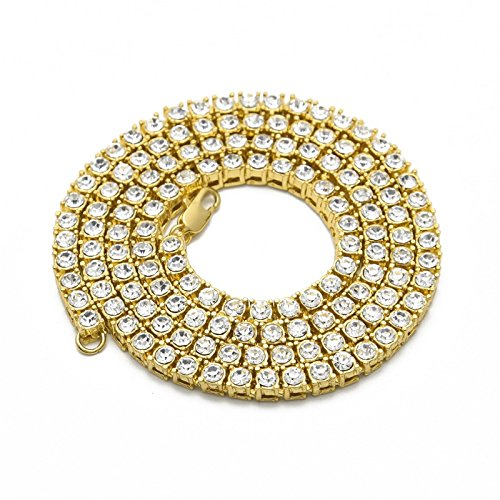 TOOGOO Mode Herren Hip Hop Bling Bling Tennis Kette 1 Reihe Halsketten Gold Maenner Kette 24 Zoll