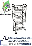 #8: Parasnath square vegetable and fruit trolley (4 stand-30 inch) QUALITY IMPROVED FROM 1 Feb 2017 + MIRROR FINNISH LOOK