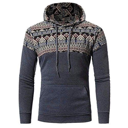 Paolian Chandail de Style Ethnique rétro Polaire pour Homme, Motif de Mode Automne Chaud et Manteau d'hiver