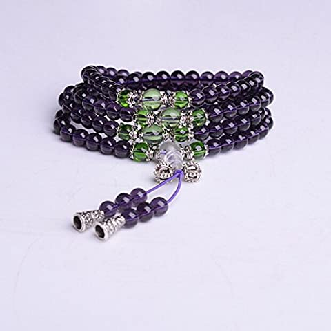 K&C Gemstone Tibet Buddhist Buddha Meditation 0.24 Inches 108 Beads Prayer Bead Mala Bracelet Necklace