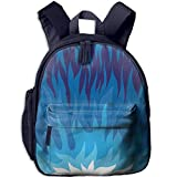 Kid's Boy's&Girl's Backpacks with Pocket Trippy Abstract Gas Flame Background Exploding Motion Energy Fire Modern Illustration Full Violet Blue