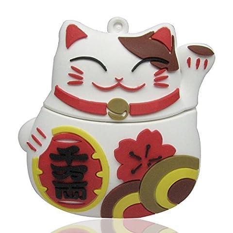 818-Shop no19400020032 Hi-Speed 2.0 USB flash drive 32GB Cat lucky charm 3D white