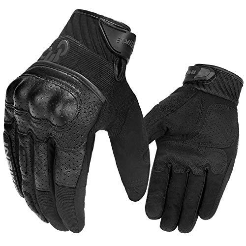 INBIKE Guantes con La Función De Pantalla Táctil para Moto, Guantes Moto Verano Transpirable para Hombre(IM801-Negro,M)