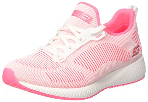 Skechers Damen Bobs Squad-Twinning Slip on Sneaker, Weiß (White/Hot Pink), 37.5 EU