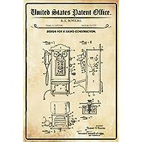 United States Patent Office–Design for a radio construcción–Entwurf für ein Radio–Bowers, 1959–Design no 2.895.044–blechschild