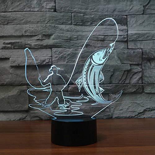 orangeww 3D Angelscheinwerfer 7 Farben verändern das visuelle Lampara Angeltischlampe LED Nachtlicht Schlafzimmer Dekoration Angeln Schlafbeleuchtung Bar Freund Kinder Geschenk Licht -