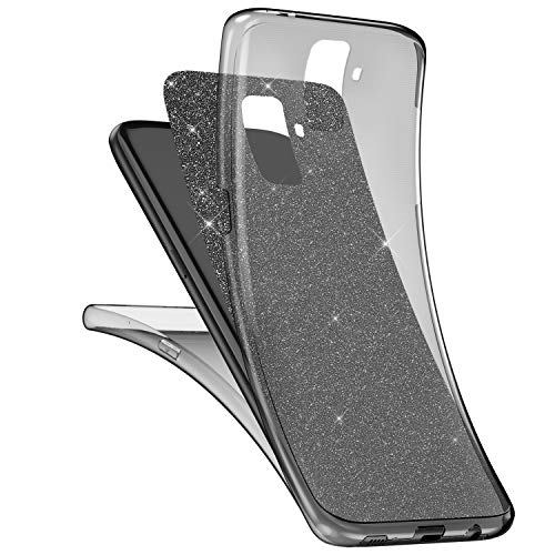 Bling Cover Case (Uposao Kompatibel mit Galaxy A6 Plus 2018 Hülle 360 Full Body Cover Bling Kristall Glänzend Glitzer Komplettschutz Vorder und Rückseiten Hülle Transparent Crystal Clear Case Cover Hülle,Schwarz)