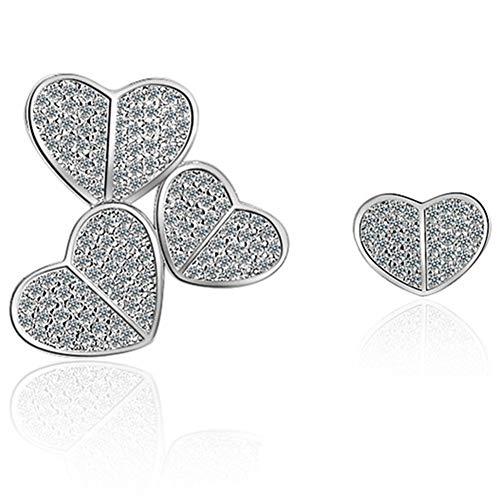 Zuoluo orecchini a forma di cuore asimmetrici ragazza fortunati per regalo il compleanno ipoallergenici l'anniversario scintillanti romantici orecchini