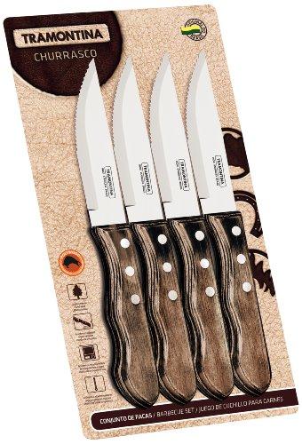 Tramontina 21199/931 - Set di 4 coltelli da bistecca con manico marrone dotato di 3 rivetti, 12,7 cm