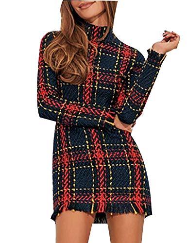 Le Donne Inverno Vestiti A Maniche Lunghe Bodycon Scozzese Slim Mini Vestito  A Strisce Red S 9d752b14801