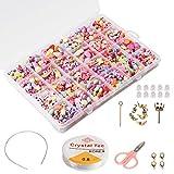 Enfants Bricolage Perles Set (500pcs), Phogary Bracelets Bricolage Colliers Perles Pour La Fabrication De Bijoux Pour Les Enfants Perle Collier Bracelet Faisant Kit Comme Cadeau Pour Les Filles