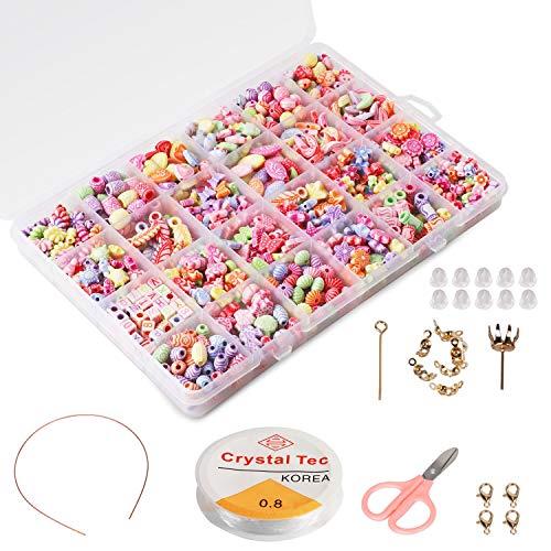 Phogary Kinder DIY Perlen Set (500pcs), DIY Armbänder Halsketten Perlen für Schmuckherstellung für Kinder Bead Halskette Armband, Kit als Perlen Geschenk-Kit für Mädchen (Perlenkette Für Mädchen)