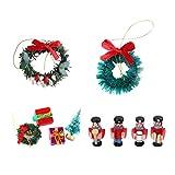 MagiDeal 10pcs Puppenhaus Miniature Weihnachtsdekoration Zubehör Set, Inkl. 2pcs Weihnachtskranz, 4pcs Weihnachtsbaum Girlande Geschenkboxen, 4pcs Figuren