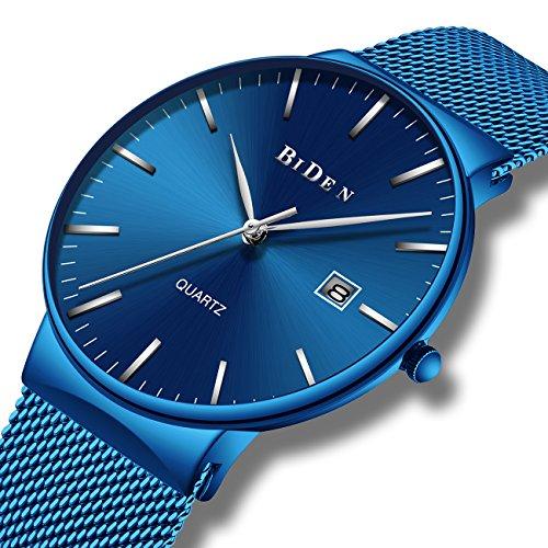 Herren Blau Uhren Männer Edelstahl Wasserdicht Mesh Uhr Datum Kalender Einfache Designer Analoge Quarzuhr Herren Luxus Geschäft Klassisch Kleid Gents Uhren für Männer