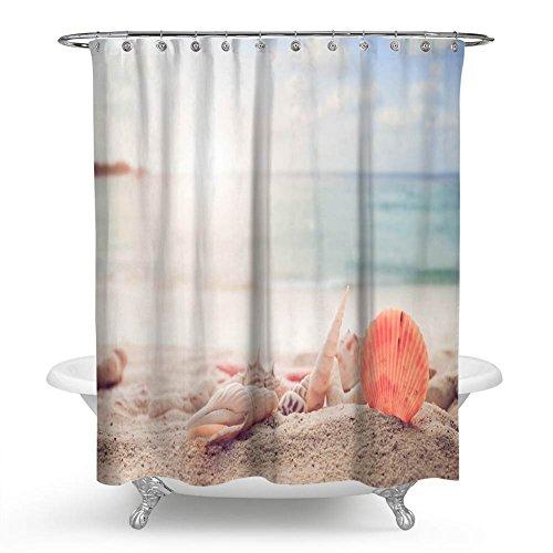QCWN Seestern Conch Duschvorhang, Seestern Muscheln und Conch am Strand Navy Ocean Bild Vorhang für die Dusche für Badezimmer mit Haken. 70