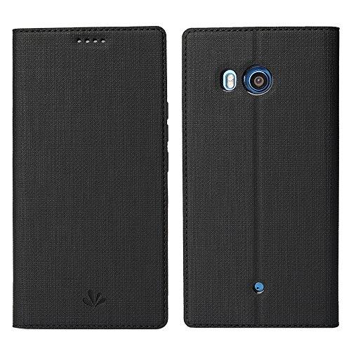 HTC U11 Hülle, Feitenn Premium PU Leder Tasche Wallet Flip Case Schutzhülle Mit Karten Halter Ständer Magnetic Closure Case Cover für HTC U11 5.5 Zoll - Grau Schwarz