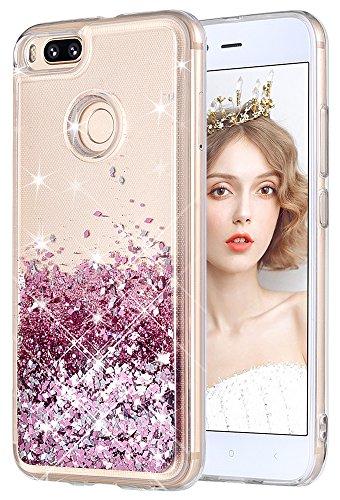 wlooo Funda para Xiaomi Mi A1/Xiaomi Mi 5X, Fundas Xiaomi Mi A1/5X, Glitter liquida Gradiente Cristal Silicona Bling Protector TPU Bumper Case Brillante Arena movediza Carcasa (Oro Rosa)
