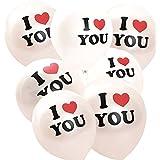 """logei® 100St Luftballons mit """"I Love You"""" Glänzend Perlen Ballons Deko für Valentinstag, Verlobung, Hochzeit, Party, Weiß"""