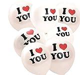 logei® Globos del corazón del amor 100pc globos de corazón globos de corazón decoración con globos para el día, contrato, boda de San Valentín con las letras I LOVE YOU