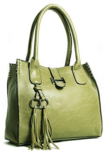 Borsa a mano da donna, in similpelle, dimensioni medie, con astuccio per il make up Olive Green