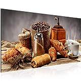Runa Art Bilder Küche Kaffee Wandbild Vlies - Leinwand Bild XXL Format Wandbilder Wohnzimmer Wohnung Deko Kunstdrucke Braun 1 Teilig - Made IN Germany - Fertig zum Aufhängen 505012b
