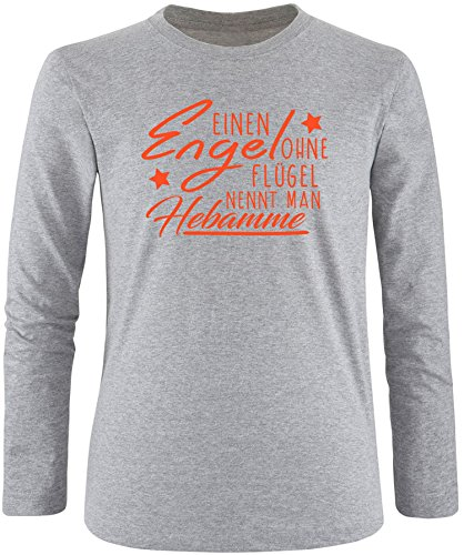 EZYshirt® Ein Engel ohne Flügel nennt man Hebamme Herren Longsleeve Grau/Orange