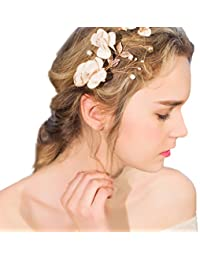 YAZILIND tocado belleza de la mujer nupcial de la boda clip de pelo pasador partido cuentas flores de aleaci¨®n de pelo accesorios
