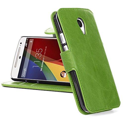 Moto G2 Lederhülle | JAMMYLIZARD Handyhülle [ Retro Series ] Ledertasche Flip Case Cover Hülle Leder Schutzhülle mit Kartenfach für Motorola Moto G (2. Generation), Grasgrün