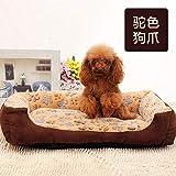 ZQZQ Cuccia Lettiera per Cani in Pile Corallo per Animali Domestici Forniture per Animali Domestici Lettiera per Gatti-Beige Paw_M: 60 * 45 * 14 Cm Pelosa