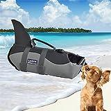 LA VIE Fisch Stil Freeride Weste Hundeschwimmweste einfach Griff für kleine medium Große Hund Rettungsweste Sicherheit beim Rafting Bootfahren Surfen Training in Gewässern Grau S