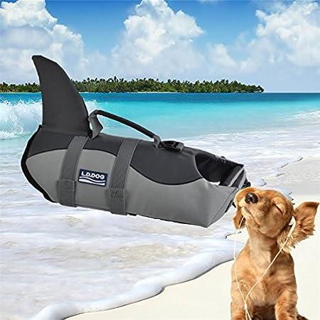 LA VIE Fisch Stil Freeride Weste Hundeschwimmweste einfach Griff für kleine medium Große Hund Rettungsweste Sicherheit beim Rafting Bootfahren Surfen Training in Gewässern Grau S/M/L