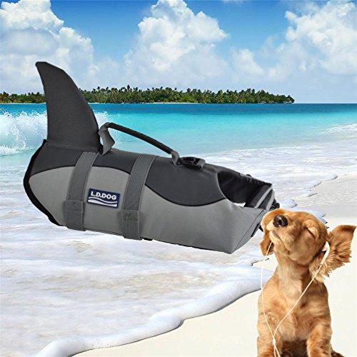 LA VIE Fisch Stil Freeride Weste Hundeschwimmweste einfach Griff für kleine medium Große Hund Rettungsweste Sicherheit beim Rafting Bootfahren Surfen Training in Gewässern Grau M