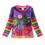 VIKITA Mädchen Langarm Baumwolle T-Shirt Top 1-7 Jahre L328Lila 8T