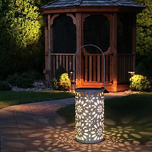 Tencoz LED Solar Laterne für Draußen, Solar Garten Hängende Laterne Zylinderförmige Nachtlicht Wasserdicht mit Lichtempfindlichkeit für Veranda/Rasen/Hof/Gehweg/Auffahrt/Weihnachten