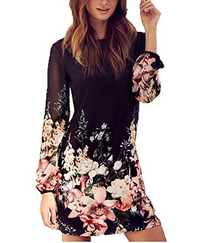 Sommerkleider Damen Kurz Schwarz Schick Langarm Muster Rundhals Casual Blusenkleid Kleider (Kleid Junge Für Schickes)