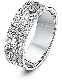 Theia 9ct White Gold Leaf/Diamond Like Design 6mm Wedding Ring