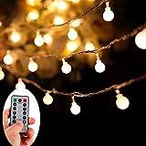 LED Lichterkette, KOLIER 10m 100 LEDs Warm Weiß Globe Batterie Lichterkette mit Fernbedienung, Globus Lichterketten Timer für Weihnachten, Hochzeit, Parte im Haus oder Outdoor (10m)