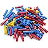 100 Stück Quetschabelschuhe isoliert Stoßverbinder Kabelverbinder Industrieware blau rot gelb