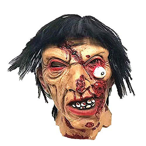 Horror Brünette Zombie-Maske Halloween-Raum Escape Haunted Haus Ganzen Mann Requisiten Beängstigende Latex Zombie-Geister Maske